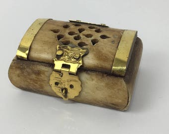 Horn and brass trinket box