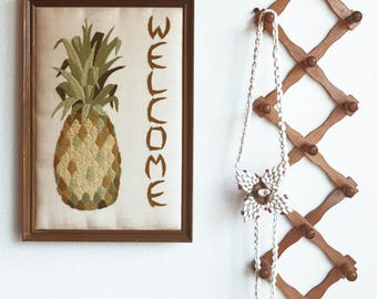 Welcome Pineapple hand embroidered frame
