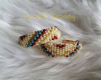 Native American leather beaded hoop earrings