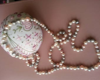 32 inch freshwater pearl necklace, white, grey and pink pearls