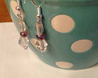 Clear glass beaded earrings with purple accent