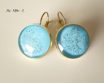 lacquered turquoise glitter earrings