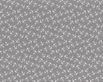 "Grey cotton print ""Baltic Sea"" anchor"