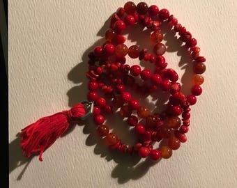 Carnelian stone Mala Bead bracelet
