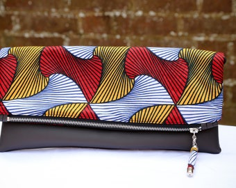 Foldover Clutch, Leather Clutch, African Print Clutch, Ethnic Print Ankara clutch, Tribal Accessories, Gift