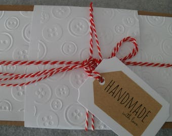 10 dual cards, handmade with cover buttons marked