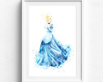 Cinderella print Disney Princess Watercolor, Cinderella Art Cinderella Print, Cinderella Wall decor, Cinderella Watercolor Cinderella Poster