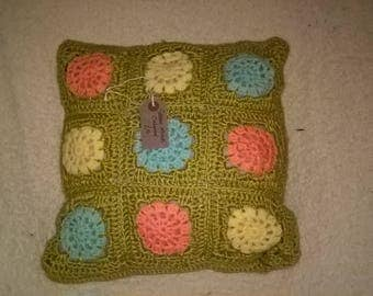 Hand Crocheted Granny Square Cushion
