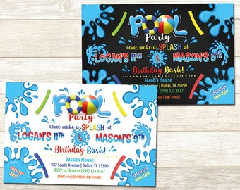 Pool Party Birthday Invitation - Swimming Pool Birthday Party - Sibling Pool Party Birthday invitation - Double Birthday Party