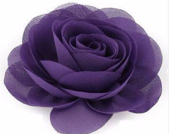 2 Purple Rose Flower Baby Girl Hair Clips 1 Pair