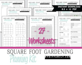 SQUARE FOOT GARDEN Planner Set - Kit - Garden Journal - Printables - Worksheets - Organizer - Vegetable Garden - Herb Garden