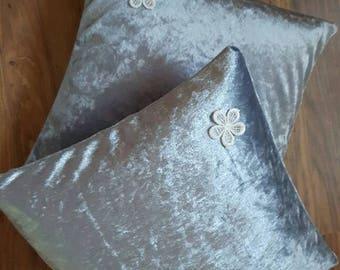 Silver Velour  Feather Cushion