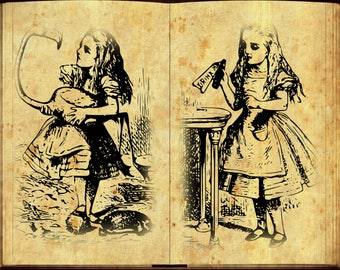 Alice in Wonderland Wall Art Horizontal Poster Set of 5 - Alice in Wonderland Vintage Book Illustration Print - Room Wall Art Set