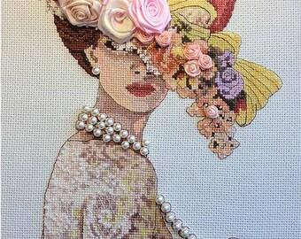 Lady of the Victorian era, women, portrait, embroidery, art, cross stitch, lady