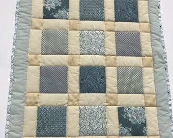 Baby quilt, baby blanket, handmade quilt, cot quilt, baby shower, christening, birthday, blue, grey, cream, free shipping