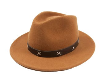 Cognac Fedora Hat 100% wool and water resistent