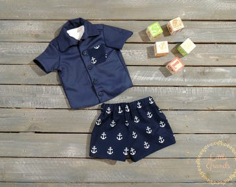 6-9 Month Boys Navy Blue Button Up Shirt and Shorts Set
