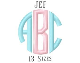 13 SIZE JEF Fonts Circle Monogram Embroidery Fonts Embroidery Designs Embroidery Alphabets Letters Monogram Fonts - Instant Download