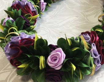 Purple Rose Hawaiian Ribbon Lei