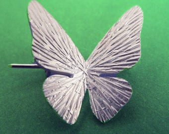 Sterling Silver White Butterfly Pin