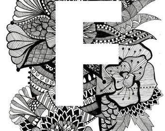 Personalised Letter Print- F-J- Downloadable, Printable Art