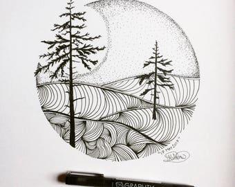 "Original Hills through the Trees ""17 May 2017"" Hand drawn artwork by Rachel Rose McAndrew"