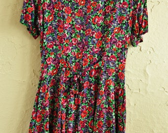 The Natalie: 80s Express Floral Romper