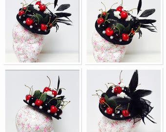 Cherry and Pearl Fascinator