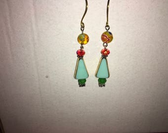 Whimsical drop beaded earrings, refashioned from vintage or new beads/findings