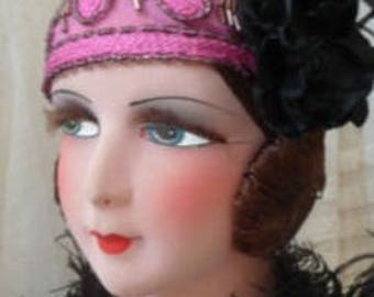 Gorgeous Lush French Boudoir Doll in Magenta and Black