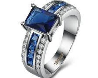 Deep Blue 18K Gold Plated All Occasion Band