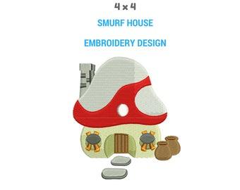 Smurf Mushroom House Embroidery Design | Smurfs Machine Embroidery Design | Smurf House Full Filled Embroidery | House Embroidery Pattern