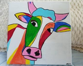 12x12 rainbow bull painting acrylic on canvas