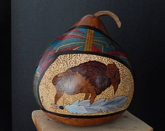 Carved Buffalo Gourd with Feather / Decorative Art
