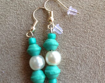 Turquoise and Pearl Colored earrings