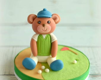Fondant Bear Cake Topper, Bear Cake Topper, Golf Cake Topper, Golfing, Golfer, Teddy Bear Topper, Men's Birthday, Father's Day, Cute Topper