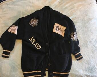 "Vintage ""Around the World"" patch sweater"