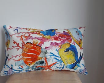 12x19 Underwater pillow cover, Throw pillow, zipper close, decorative pillow