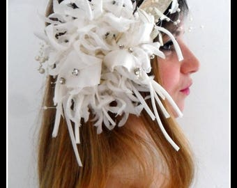 HEADDRESS wedding white and ivory Charleston