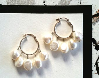 Large Pearl Hoop Earrings