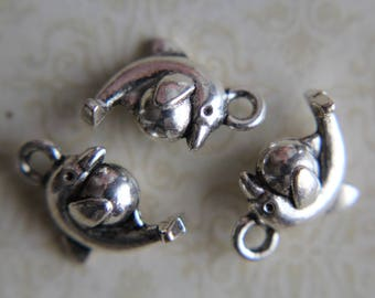 Antique Silver Tone Small Dolphin with Ball Charm x 10 - Seaside, Seashore, Water, Dolphin, Ball