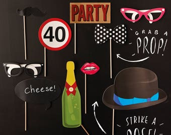 40th Birthday Photo Booth Props, Photo Booth Props