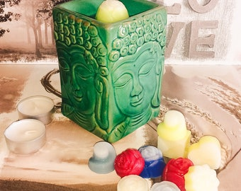Green Buddha Face Oil Burner and Wax Melt Set  -  Designer fragrances - your choice