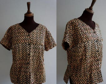 Patterned 1980s Top / African-Patterned Vintage Top