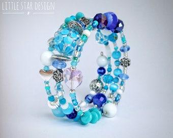Beaded wrap bracelet, little girl bracelet, little girl jewelry, Blue beads, kids jewelry, Frozen Jewelry, girl birthday gift, Elsa jewelry