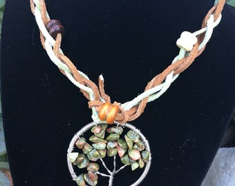 Leather tree of life pendant necklace, handmade