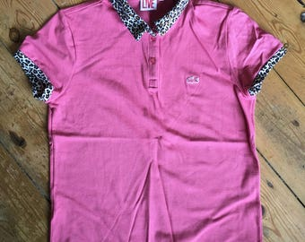 Rare Pink and Leopard Print Lacoste Polo