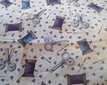 Thread and scissors fabric