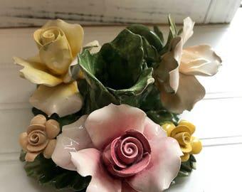 Vintage Capodimonte Italian Porcelain Floral Candle Holder