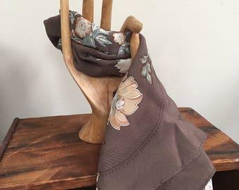 Vintage Silk Brown Floral Scarf / Bandana